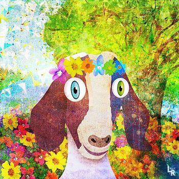 Sweet Goat with Flower Crown Portrait - Digital Illustration