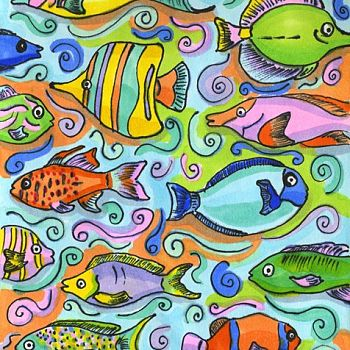 Fishies by the Shore - Pen and Copic Markers Drawing