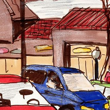 Cars and shops in OT - Mixed Media Sketch