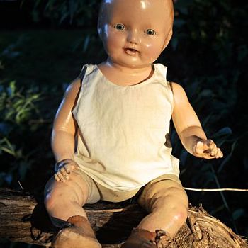 Vintage Doll Sitting on Tree Branch - Photography
