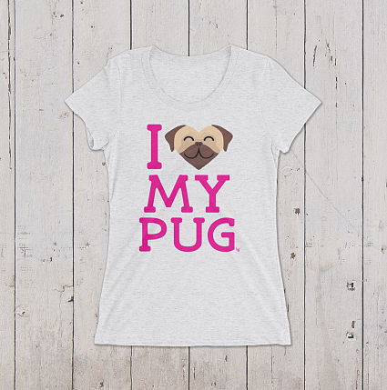 I Love My Pug Graphic Tee