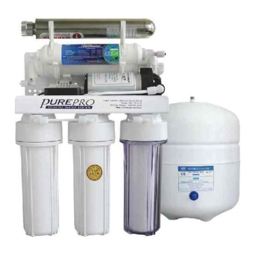 PurePro 5 Stage 80 Gallon Reverse Osmosis Water Purification System with Built-In Pump and Ultraviolet Sterilizer