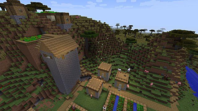 Minecraft seed where savannah and plains meet