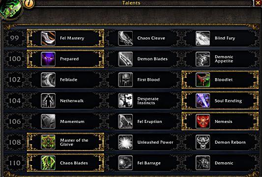 wow legion havoc demon hunter talents