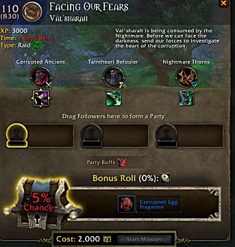 wow legion facing our fears follower mission