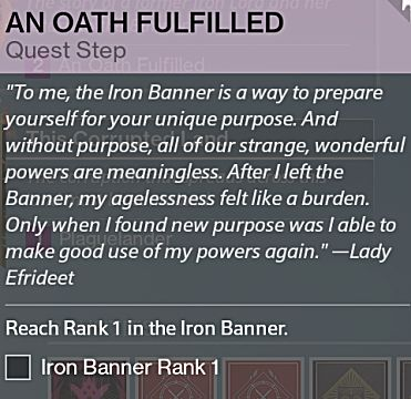 destiny rise of iron iron banner quest