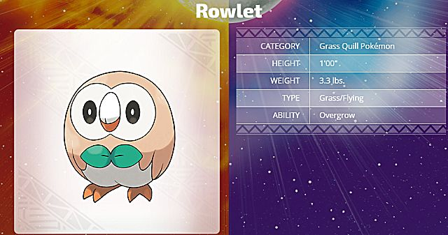 Pokemon sun and Moon starter rowlet