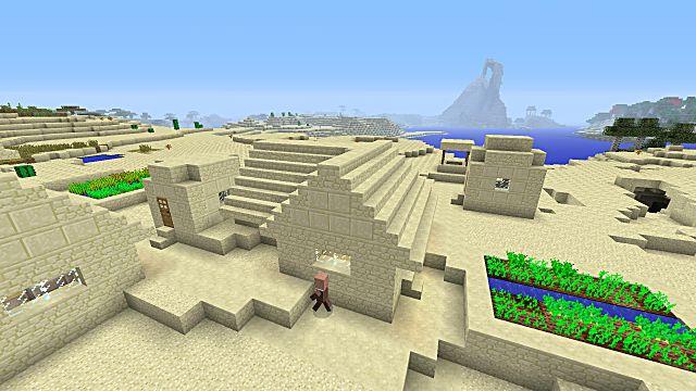 minecraft seed 5 villages desert biome desert temples