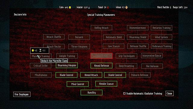 Domina, skill tree, info tree