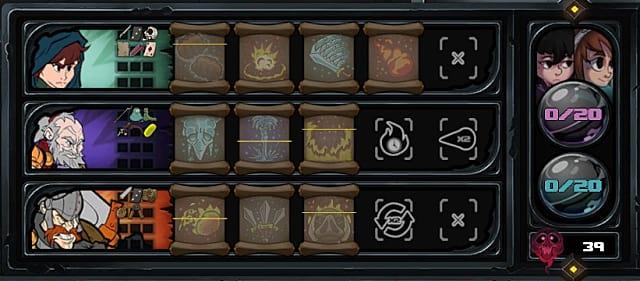 Has-Been Heroes, skills, spells, inventory, menu