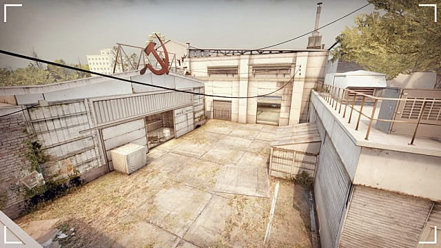 a CS:GO map with an old Soviet hammer and sickle