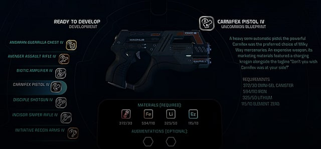mass effect andromeda crafting weapons