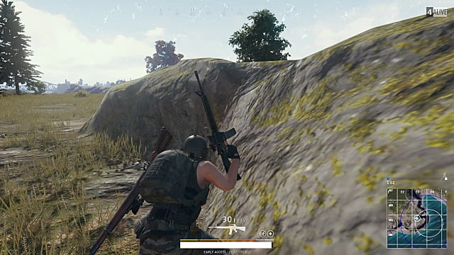 PLAYERUNKNOWN'S BATTLEGROUNDS, rocks, gun, running