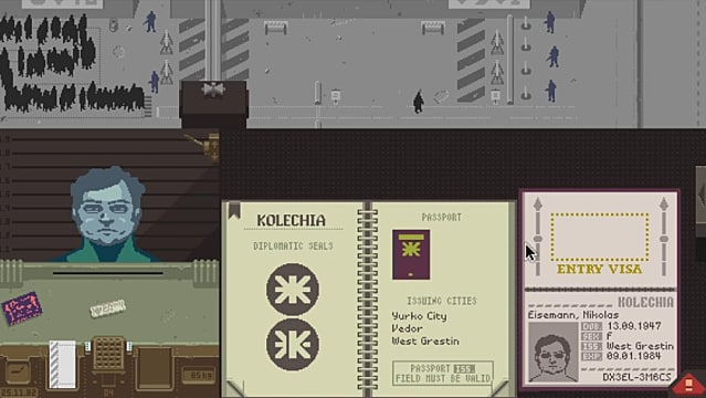 Papers Please, border guard, identification