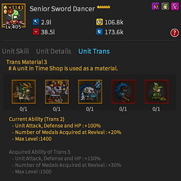 Endless Frontier, sword dancer, senior, time shop