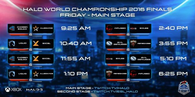 Halo World Championship Finals main stage schedule