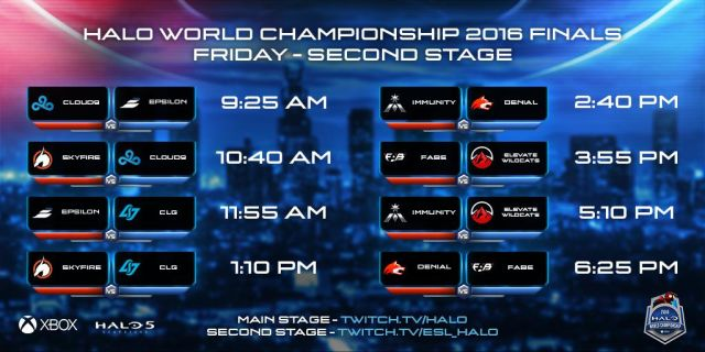 Halo World Championship Finals secondary stage schedule