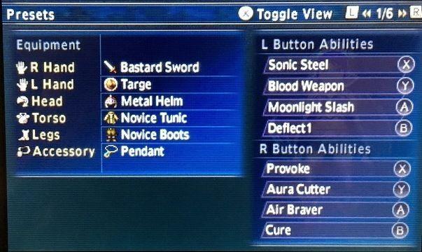 Final Fantasy Explorers Job Presets