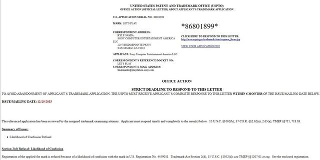 Let's Play trademark application