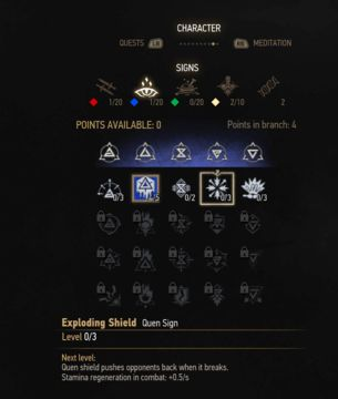 witcher 3 quen sign skill tree