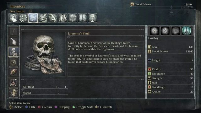 Bloodborne The Old Hunters Laurence's skull