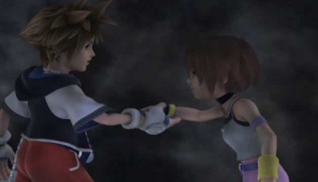 Sora and Kairi at the end of Kingdom Hearts.