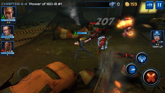 Hawkeye in combat.