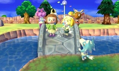 The player is surrounded by villagers for a bridge-opening ceremony in Animal Crossing New Leaf