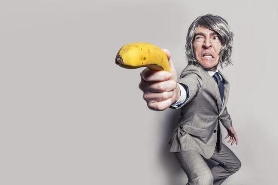 angry man banana gun
