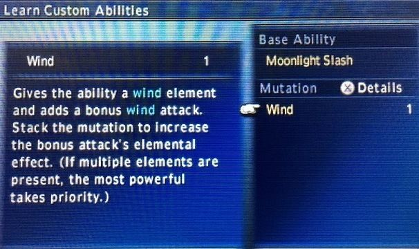 Final Fantasy Explorers Mutated abilities