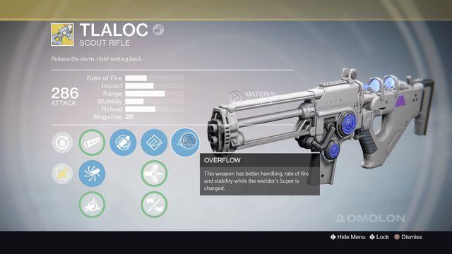Destiny warlock scout rifle Tlaloc