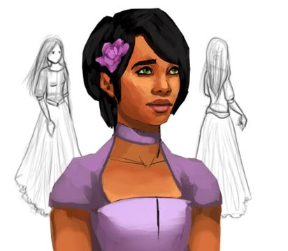Ophelia's final design and concept art for Elsinore.