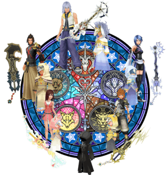 The Foretellers beside their Keyblades and main character counterparts.