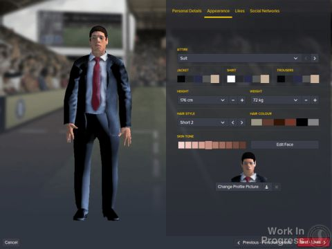 A screen shot of Football Manager 2016's customize a manager screen.