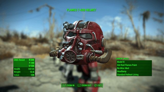 Flames T-60 Power Armor Helmet Fallout 4