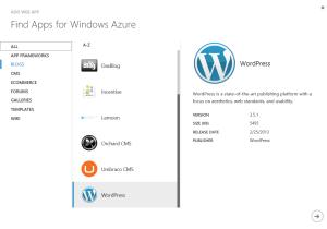 azure - select wordpress