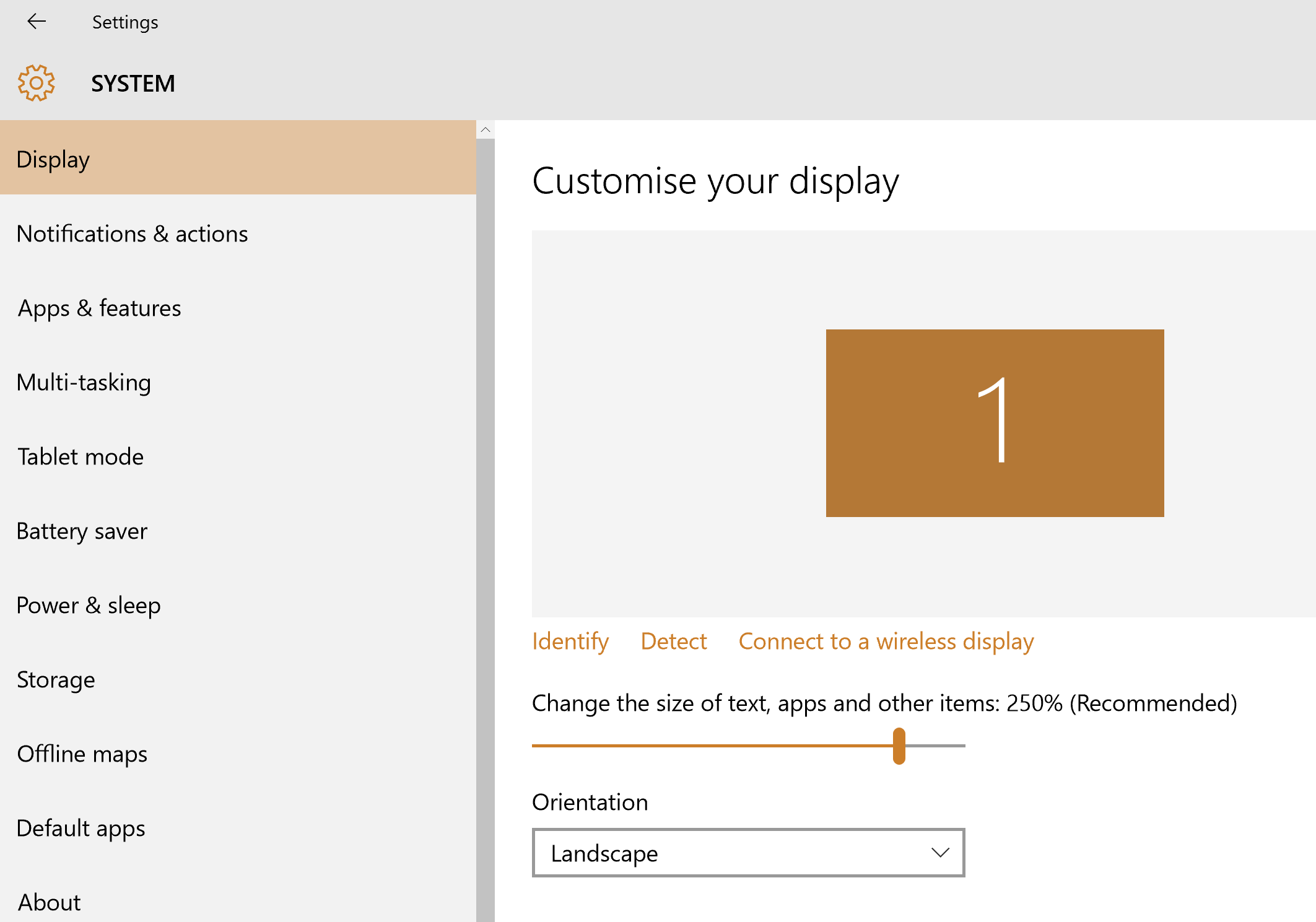The display scale settings