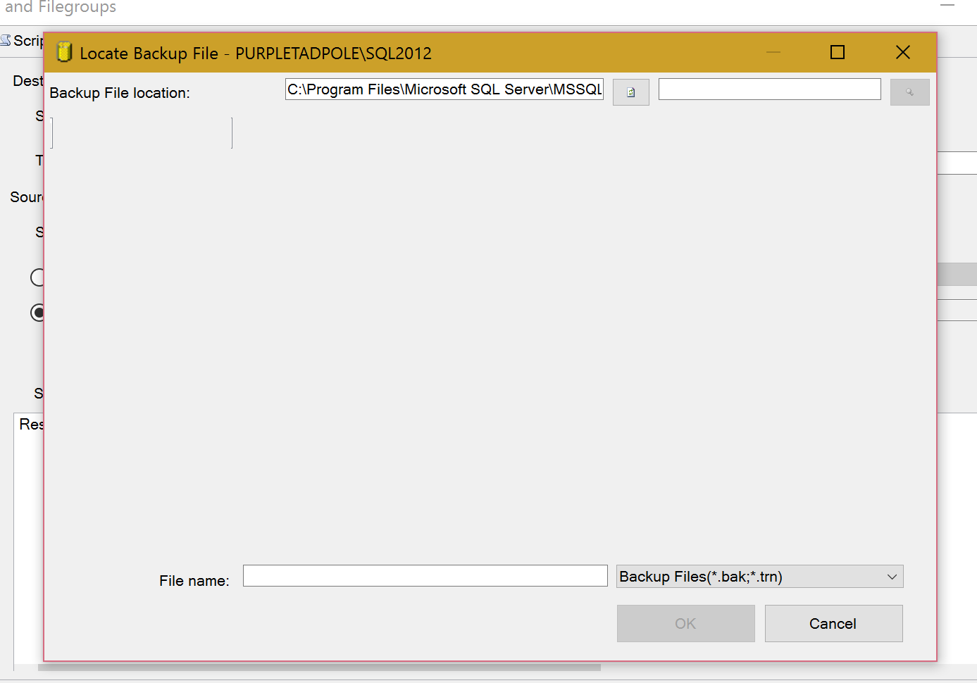 An example of the missing file browser