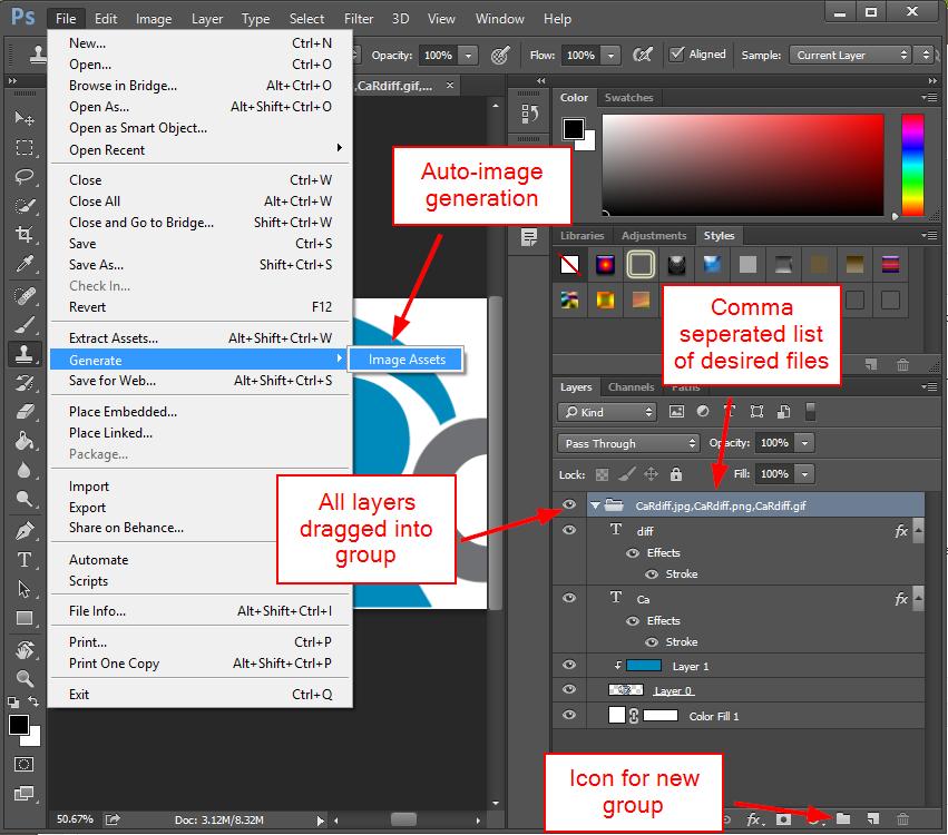 Autogenerating photoshop images