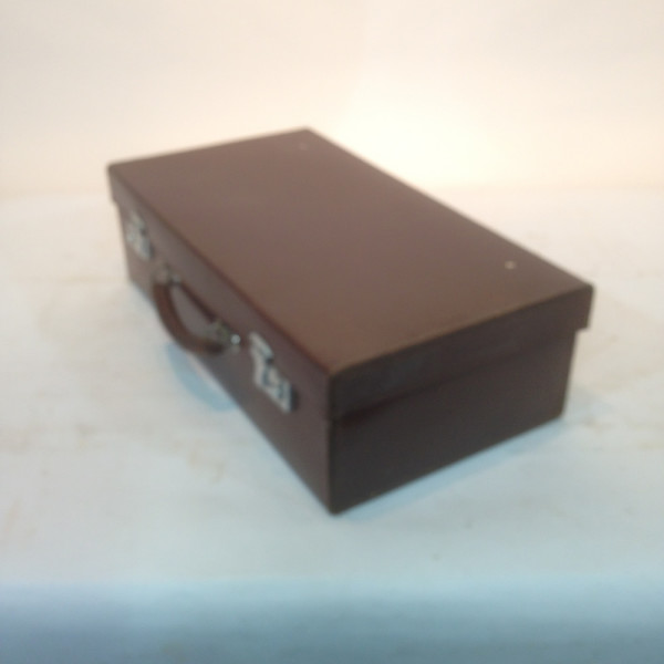 3: Dark Brown Leather Suitcase