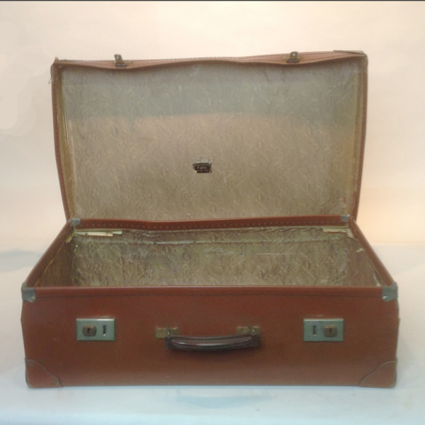 2: Medium Light Brown Leather Suitcase