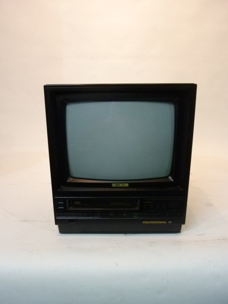 1: Black Portable TV Monitor with VHS Player