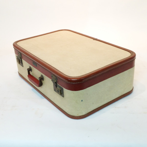 3: White with Red Trim Retro Suitcase