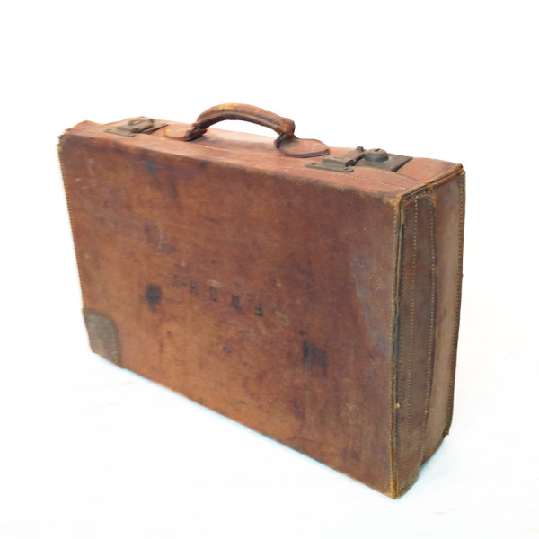4: Brown Leather Vintage Suitcase with Initials
