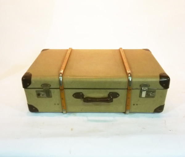 1: Yellow Canvas with Wood Finish Suitcase