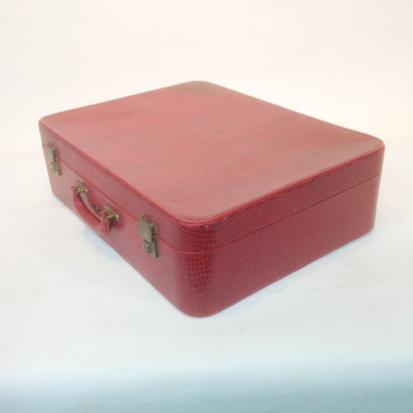2: Red Crocodile Skin Soft Shell Suitcase