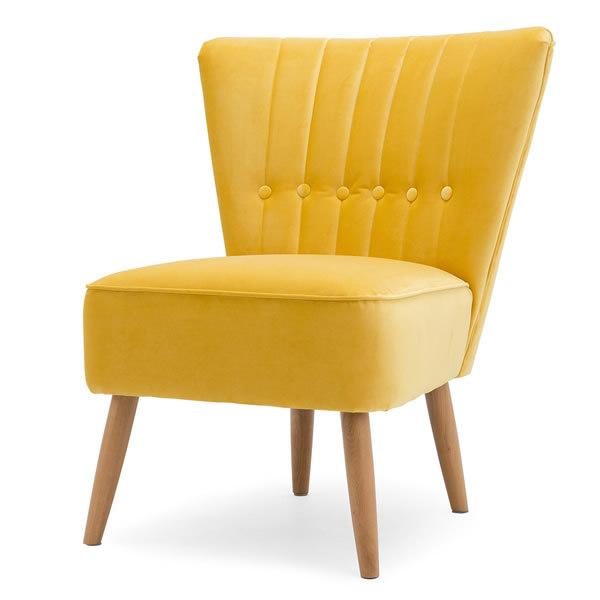 2: Velvet Cocktail Chair - Yellow