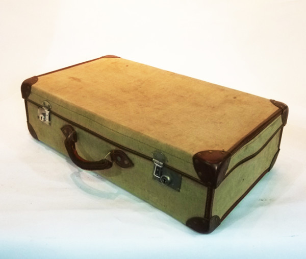2: Cream Canvas Suitcase