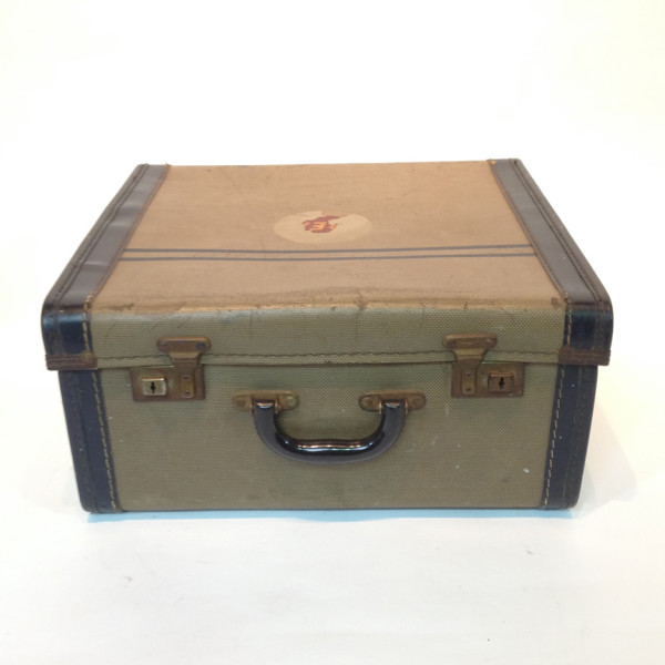 2: Small Patterned with Blue Trim Travel Case