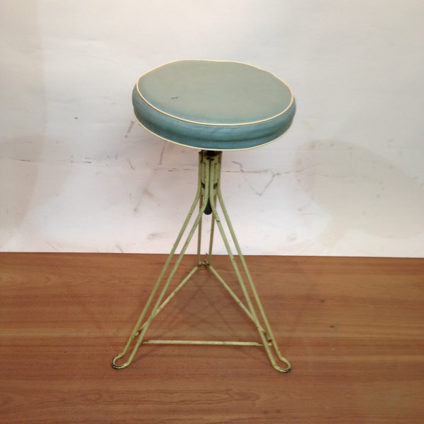 1: Metal Frame with Leather Seat Stool